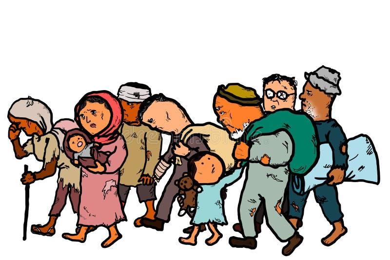Uchodźcy Migrują ludzi bezdomni ilustracji