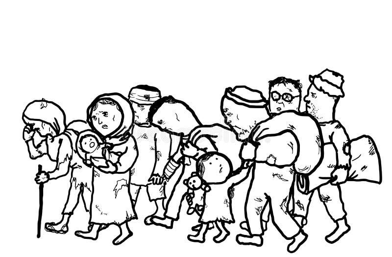 Uchodźcy Migrują ludzi bezdomni ilustracja wektor