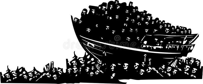 Uchodźcy przy morzem ilustracji