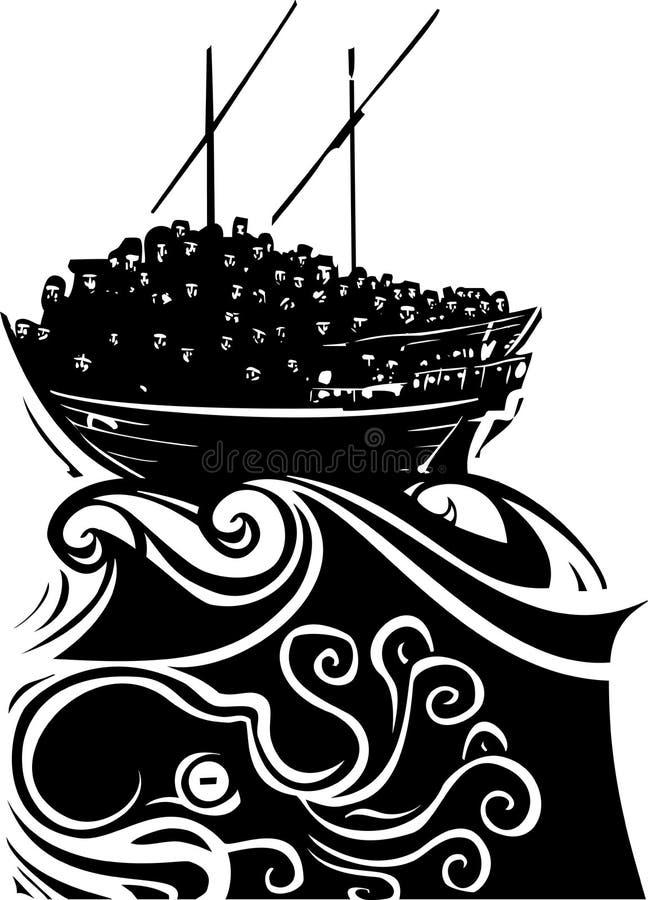 Uchodźcy Wędrowny statek ilustracji