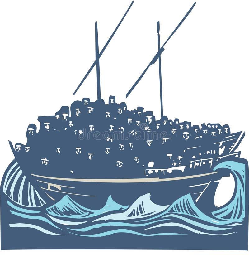 Uchodźcy Wędrowny statek ilustracja wektor