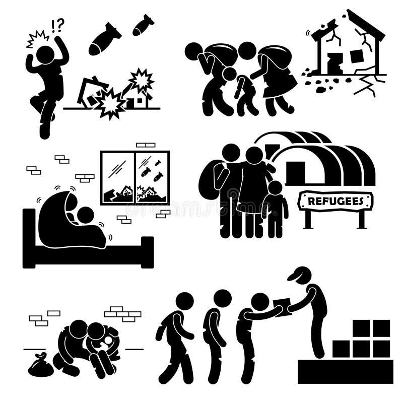 Uchodźcy wysiedlena wojna Cliparts royalty ilustracja