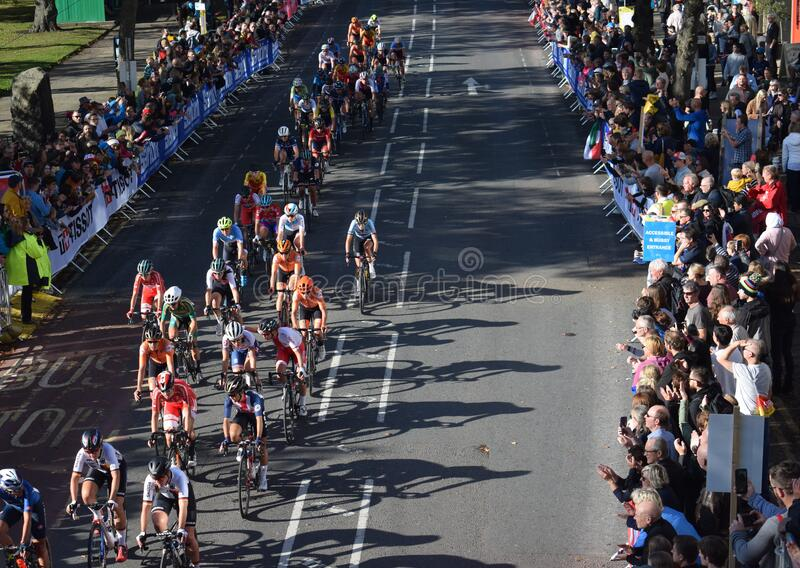 The UCI Cycling Race. UCI Cyclists taken on the 28th September 2019 in Harrogate,United Kingdom.High angle view of cyclists racing by stock photography