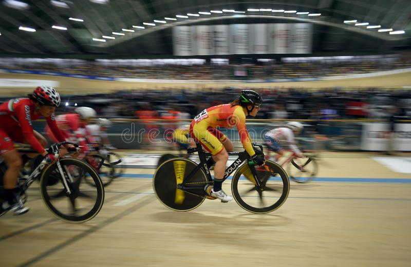 UCI track cycling world championships in Pruszkow. PRUSZKOW, POLAND - MARCH 03, 2019: UCI track cycling world championships by TISSOT stock image