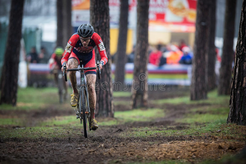 UCI World Championship Cyclocross - Heusden-Zolder, Belgium. Travis Livermore (USA) races at the UCI World Championship Cyclo-cross race In Heusden-Zolder stock photos