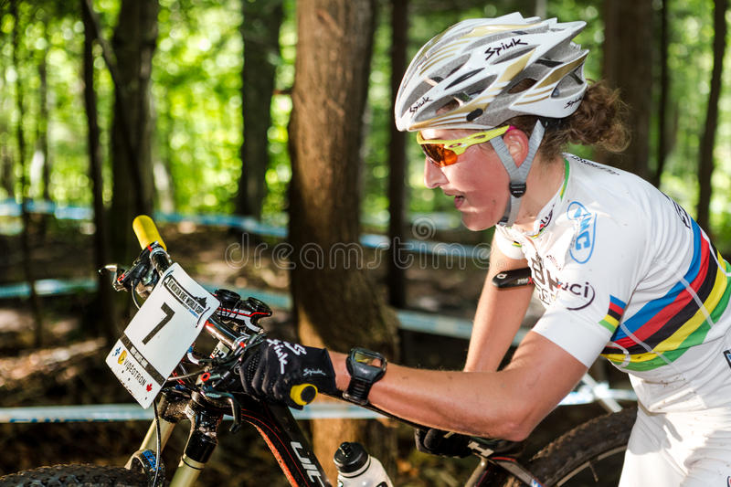 UCI World Cup Cross Country 2013, Mont Ste-Anne, B. MONT STE-ANNE, QUEBEC, CANADA - AUGUST 10: Cross Country Women Elite,4th place, FRA - BRESSET Julie, UCI royalty free stock images