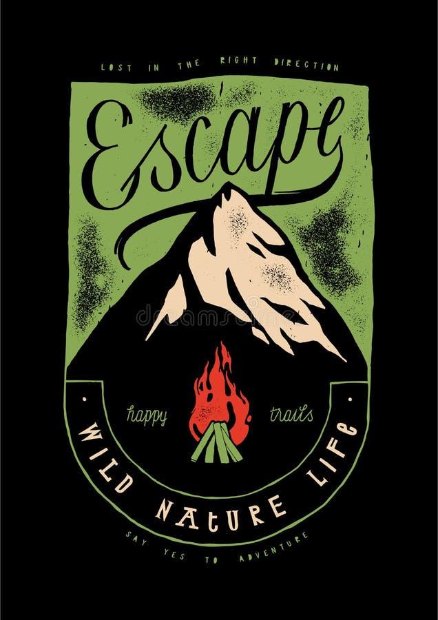 Ucieczka - górski szczyt pokryty lodem i pożar obozowy royalty ilustracja