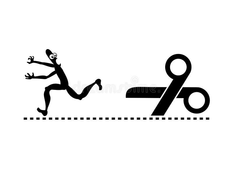 Ucieczka nożyce ilustracji