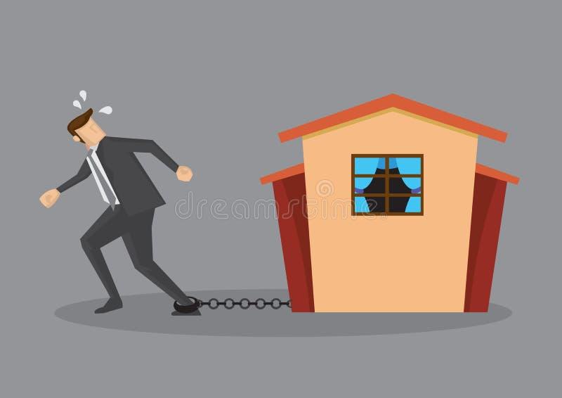 Uciekać od Ciężkiego ciężaru zadłużenia Domowa Hipoteczna pożyczka ilustracji