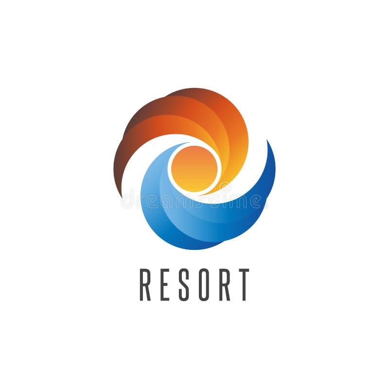 Ucieka się logo, lato oceanu plaży emblemat, abstrakt wodę i niebo zmierzch, podróży ikony projekta elementu szablon ilustracja wektor