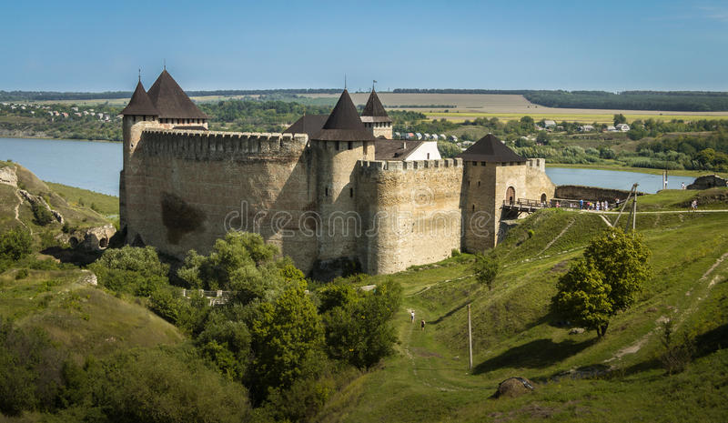 Ucrânia, Khotyn, castelo medieval fotografia de stock royalty free
