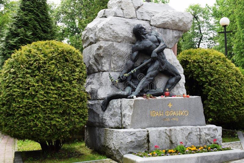 Ucrânia, Lviv - em maio de 2019: Túmulo de Ivan Franko fotografia de stock royalty free