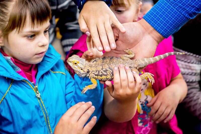ucrânia Região de Khmelnytsky Em maio de 2018 As crianças são curiosamente wa imagens de stock