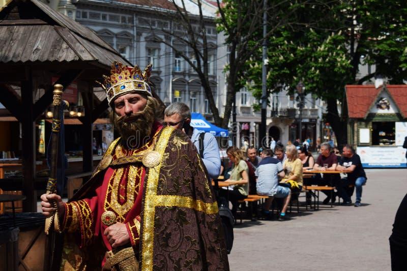 Ucr?nia, Lviv - em maio de 2019: Um homem no traje do carnaval do rei Danylo Galitsky imagens de stock