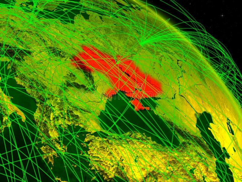 Ucrania en el globo digital ilustración del vector