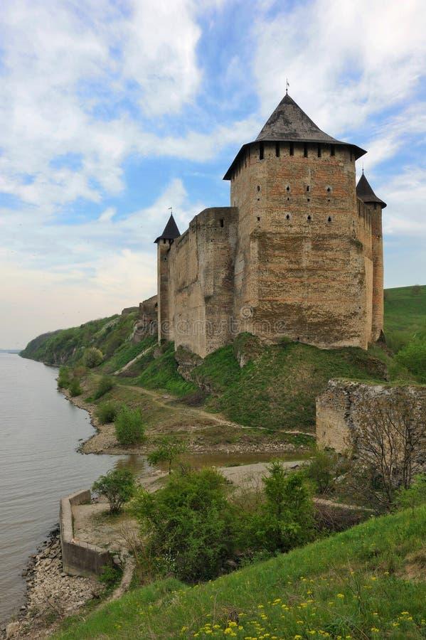 Ucrania. Kamenets-Podolsky. Fortaleza de Hotin imagen de archivo libre de regalías
