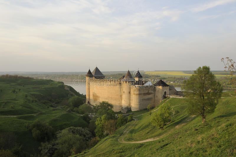 Ucrania. Kamenets-Podolsky. Fortaleza de Hotin foto de archivo