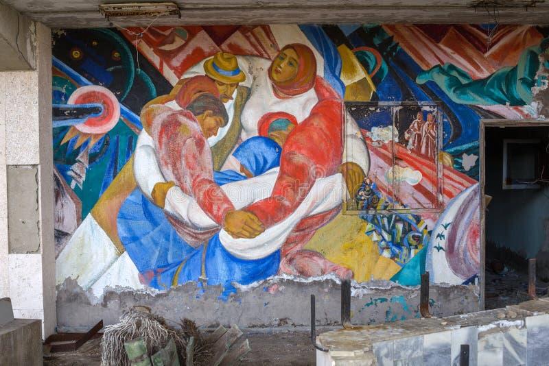 ucrania Zona de exclusión de Chernóbil - 2016 03 19 Edificios en la ciudad abandonada de Pripyat fotografía de archivo
