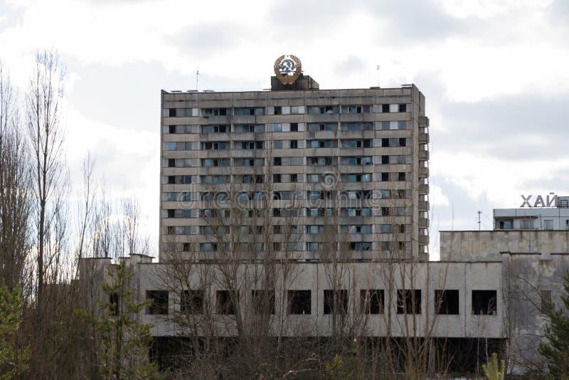 ucrania Zona de exclusión de Chernóbil - 2016 03 19 Edificios en la ciudad abandonada de Pripyat imagen de archivo