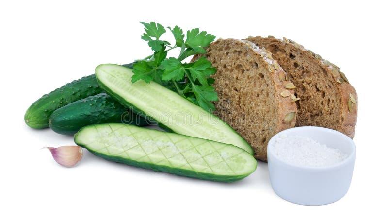 Ucumbers, pão e sal do ¡ de Ð imagens de stock