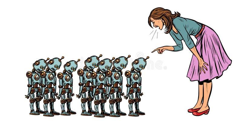 Uczący się sztucznej inteligencji pojęcie, kobieta przysięga przy małymi robotami royalty ilustracja