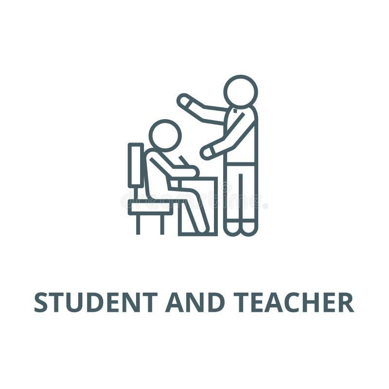 Uczący proces, ucznia i nauczyciela wektor wykłada ikonę, liniowy pojęcie, konturu znak, symbol ilustracja wektor