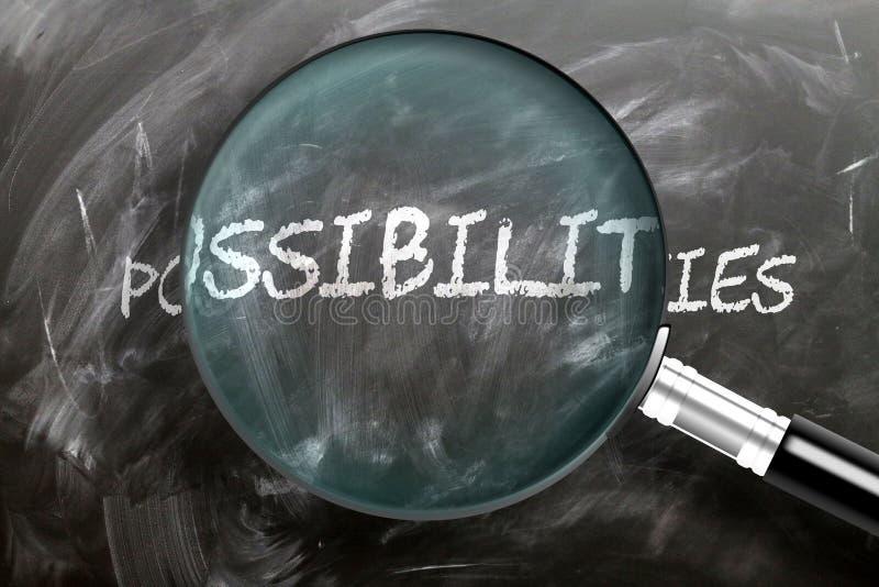 Ucz się, badaj i sprawdzaj możliwości - przedstawiane jako szkło powiększające możliwości wyrazów, symbolizujące badania, obraz royalty free