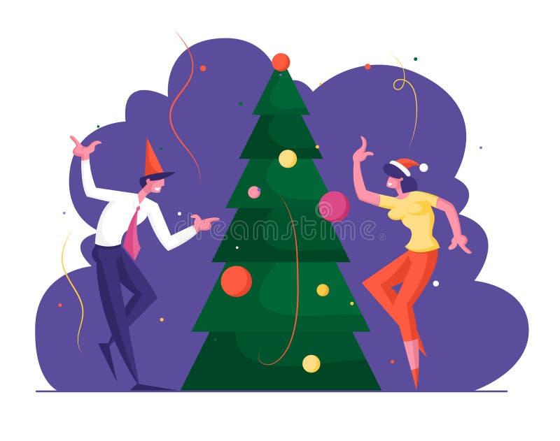 Uczciwi koledzy z Santa Hats świętują przyjęcie świąteczne w tańcu biurowym w Decorated Christmas Tree Szczęśliwi ludzie ilustracja wektor