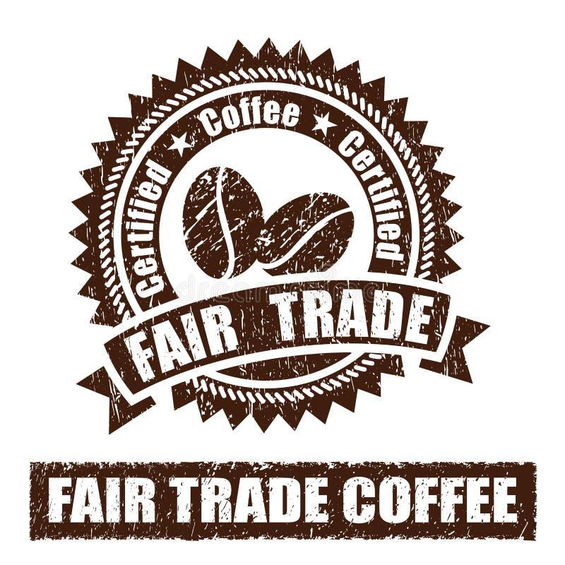 Uczciwy Handel kawy pieczątka royalty ilustracja