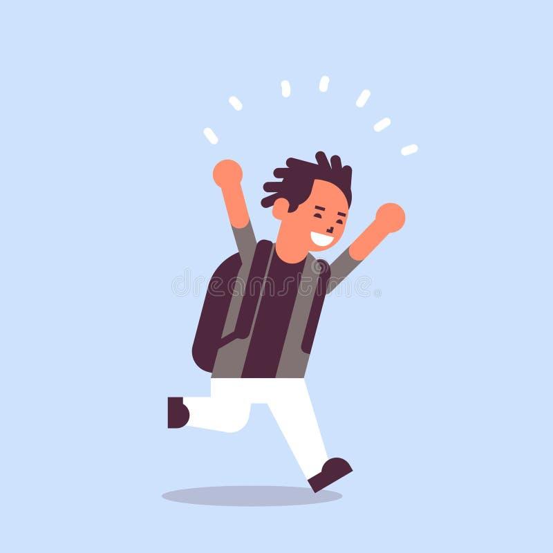 Uczeń biega z powrotem edukacji szkolnej pojęcia męski uczeń ma zabawy płaską pełną długość z plecakiem ilustracji