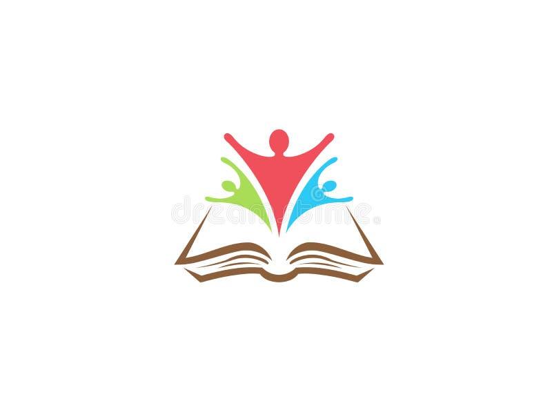 Uczeń grupy ręk otwarty sukces wśrodku książki dla logo projekta royalty ilustracja