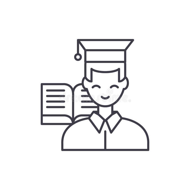 Uczeń ikony kreskowy pojęcie Studencka wektorowa liniowa ilustracja, symbol, znak ilustracja wektor