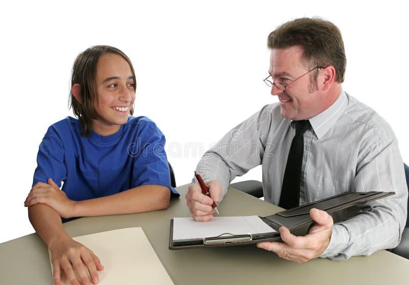 uczeń nauczyciel pozytywny konferencji zdjęcie royalty free