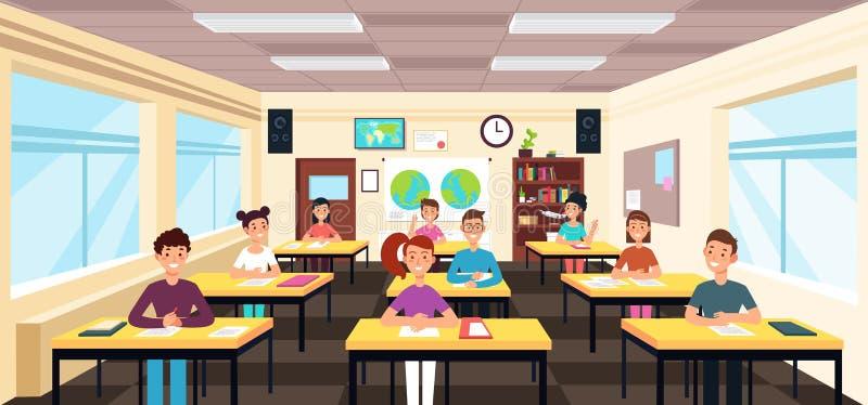 Uczeń nauka w sala lekcyjnej wnętrzu Ucznie w szkolnym lekcyjnym wektorowym pojęciu ilustracja wektor