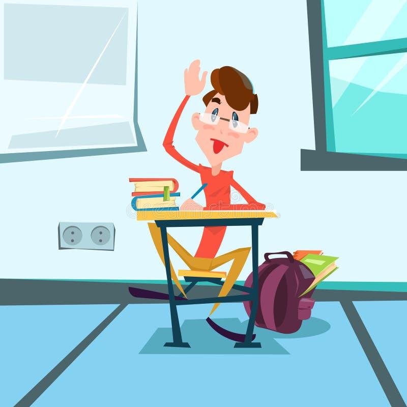 Uczeń Siedzi Szkolną biurko sala lekcyjnej lekcję royalty ilustracja