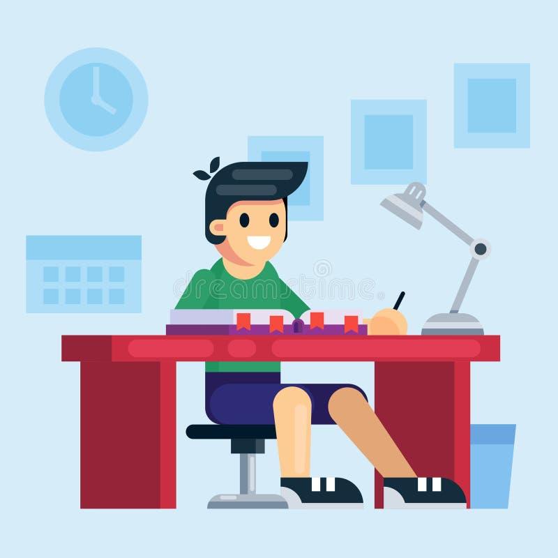 Uczeń, szkoła lub preschool dzieciak chłopiec studiowania obsiadanie przy dziecka biurkiem, Mieszkanie kreskówki wektoru stylowa  royalty ilustracja
