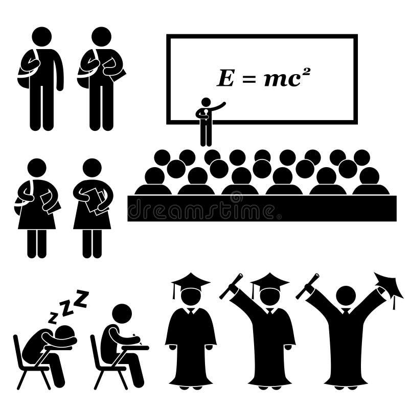 Uczeń szkoły wyższa uniwersyteta Szkolny piktogram ilustracji