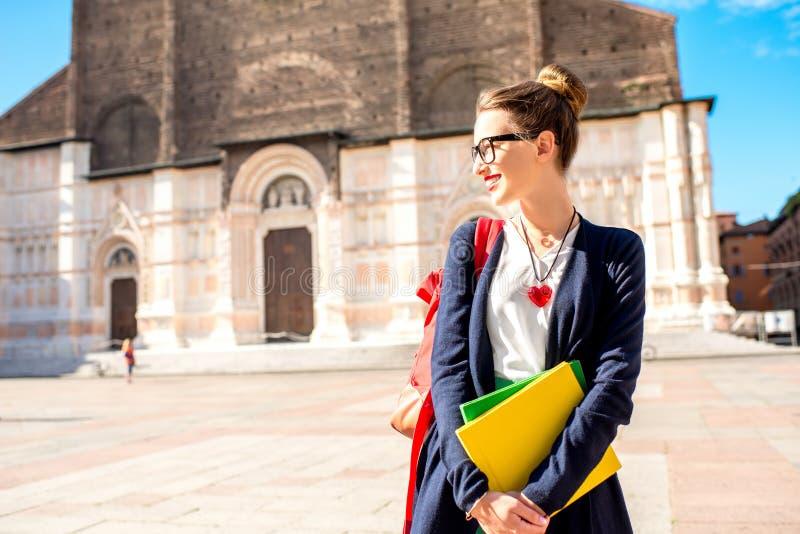 Uczeń w Bologna mieście zdjęcia royalty free