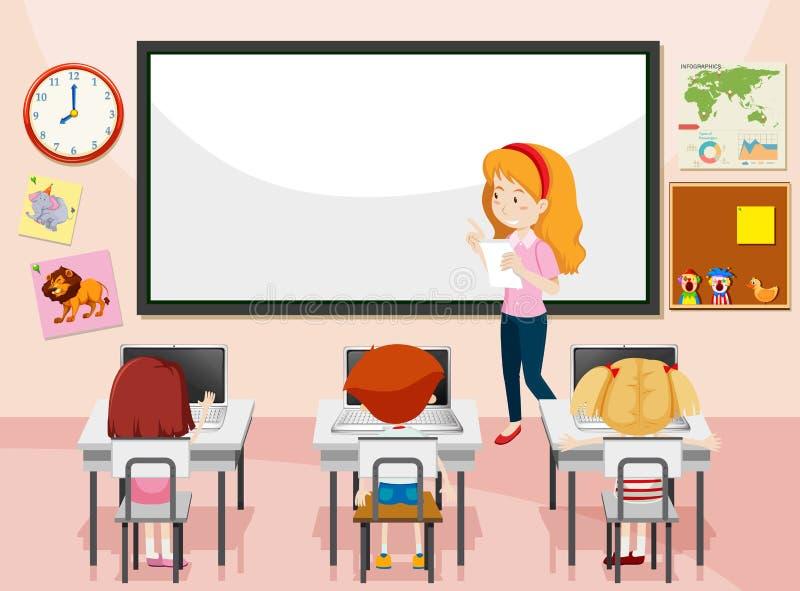 Uczeń w komputer klasie ilustracji
