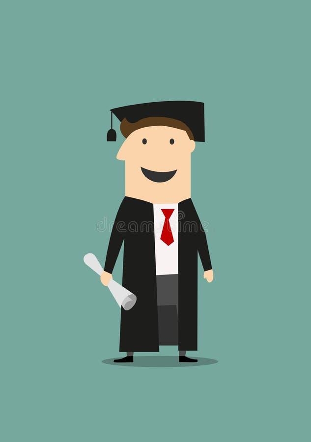 Uczeń w skalowanie kapeluszu z dyplomem i todze royalty ilustracja