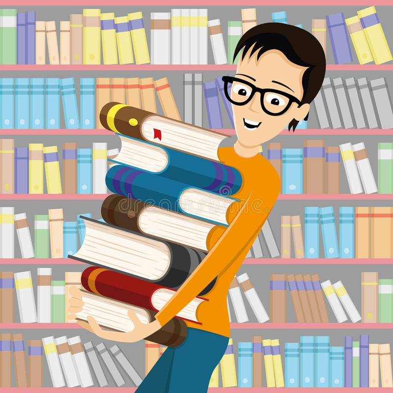 Uczeń w szkłach z książkami ilustracja wektor