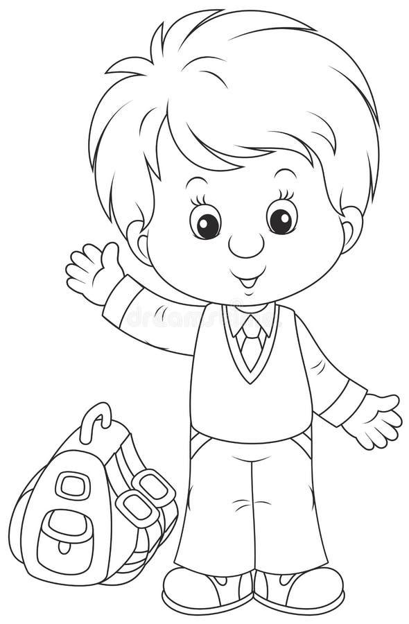 Uczeń z jego schoolbag ilustracja wektor