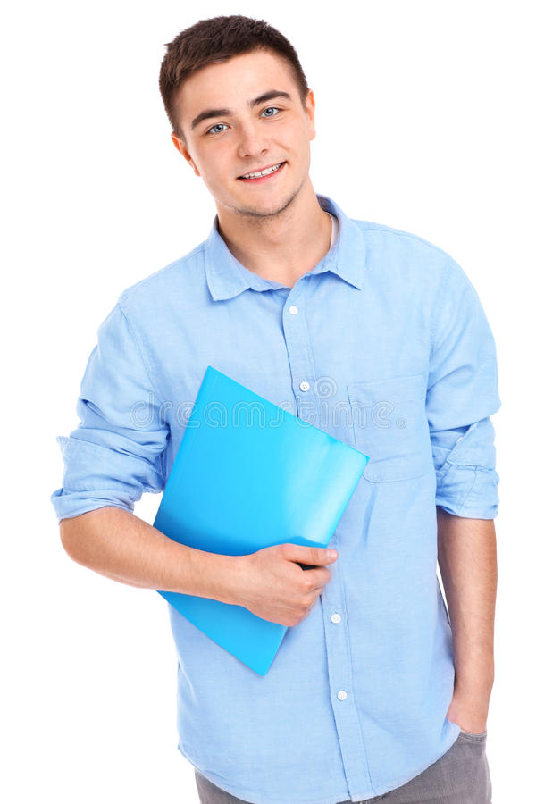 Uczeń z kartotekami obraz stock