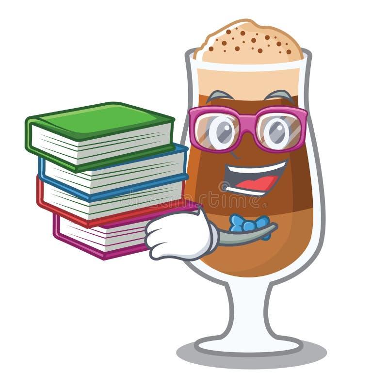 Uczeń z książkową americano kawiarnią w kreskówka kształcie royalty ilustracja