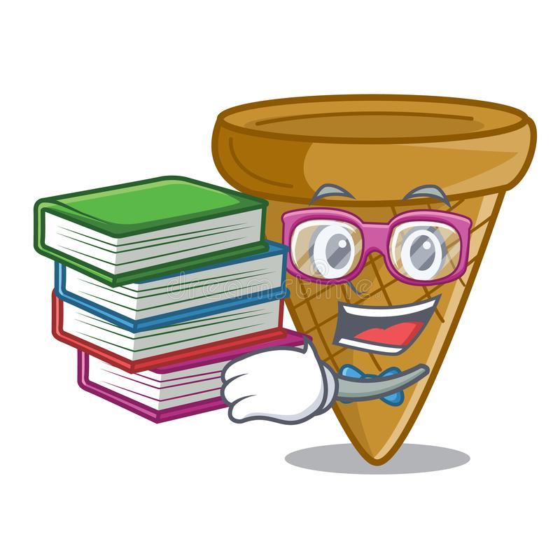 Uczeń z książkowym słodkim opłatka rożkiem odizolowywającym na maskot royalty ilustracja