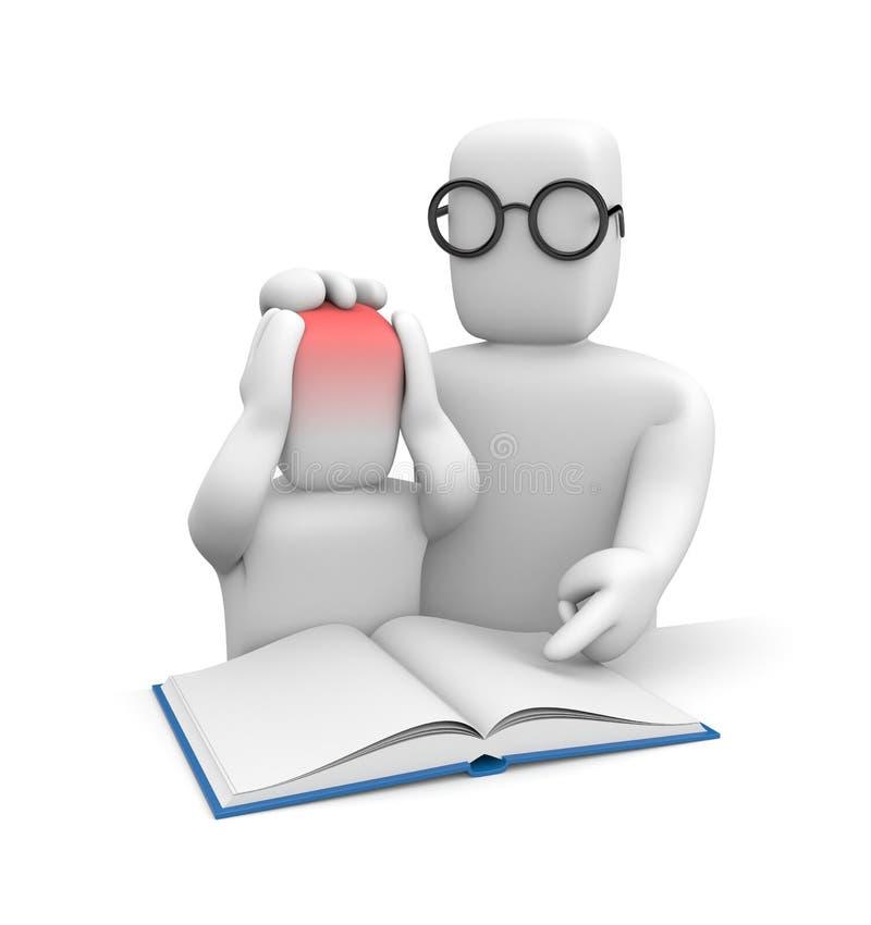 Uczeń z migreną i nauczyciel od pracy domowej lub czytania ilustracji