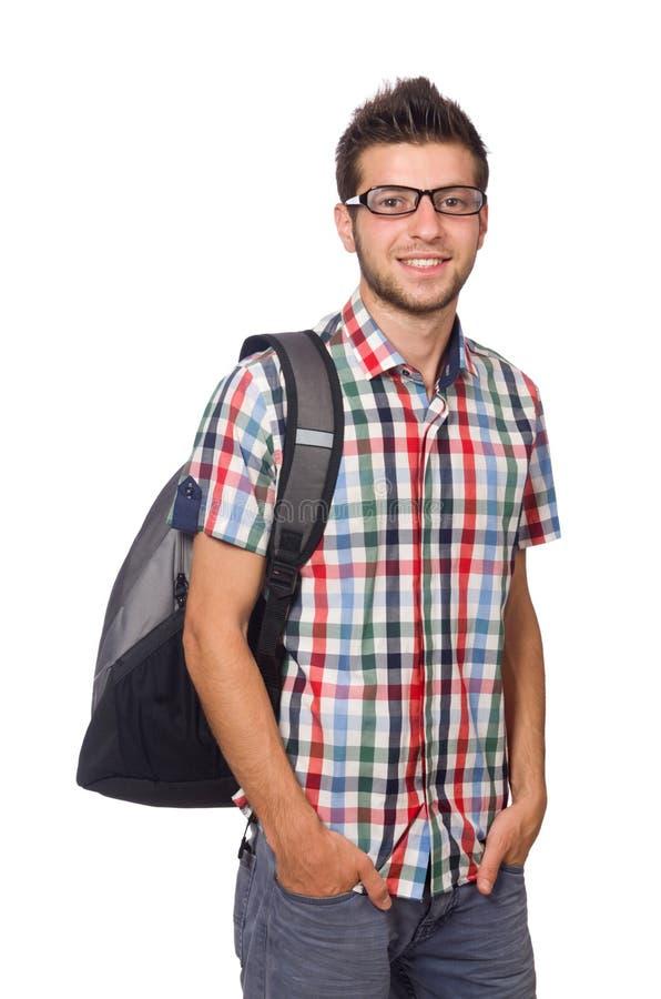 Uczeń z plecakiem odizolowywającym fotografia royalty free