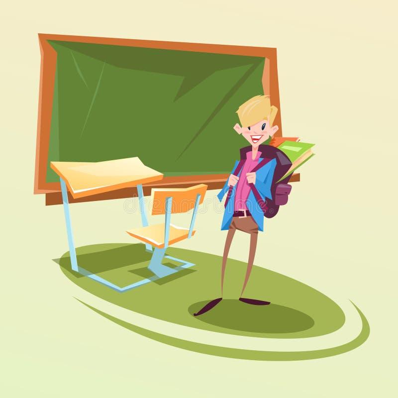 Uczeń Z plecakiem W sala lekcyjnej szkoły biurku ilustracja wektor
