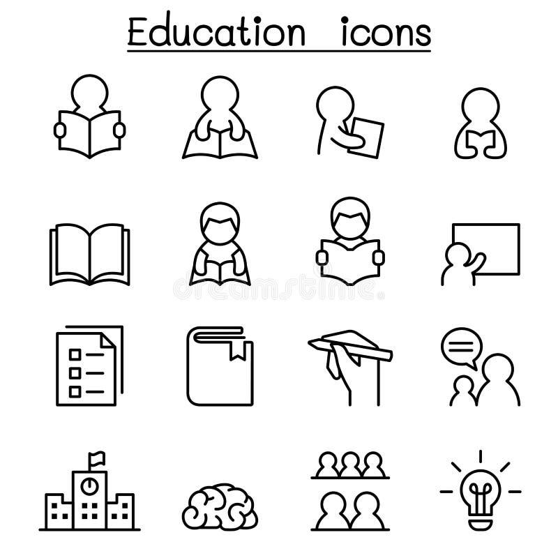 Uczenie & edukaci ikona ustawiająca w cienkim kreskowym stylu royalty ilustracja