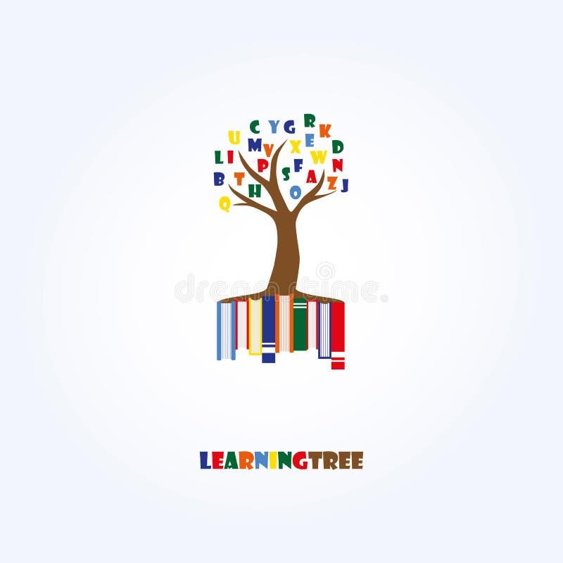 Uczenie loga Drzewny szablon Edukacja, listy, książki ilustracji